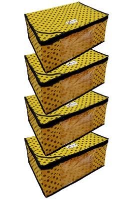 Shree Shyam Products Polka Print Non Woven Box Yellow Saree Cover 4 Pcs Set