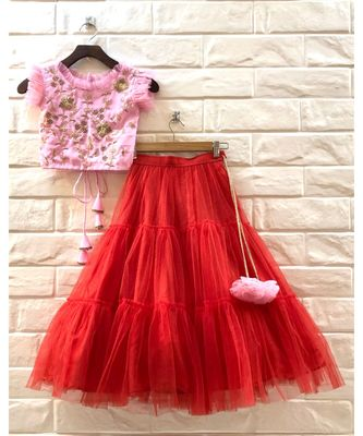 Red Frill Skirt With Handwork Blouse