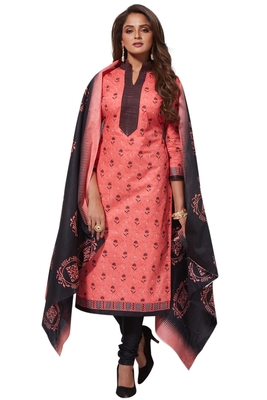 Pink Black Printed Unstitched Synthetic Dress Material With Printed Dupatta