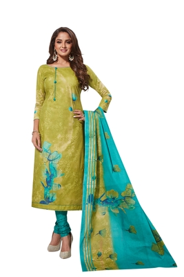 Green Sky Blue Printed Unstitched Synthetic Dress Material With Printed Dupatta