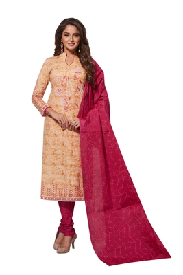 Beige Red Printed Unstitched Synthetic Dress Material With Printed Dupatta