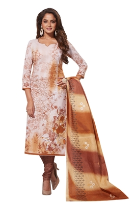 White Brown Printed Unstitched Synthetic Dress Material With Printed Dupatta