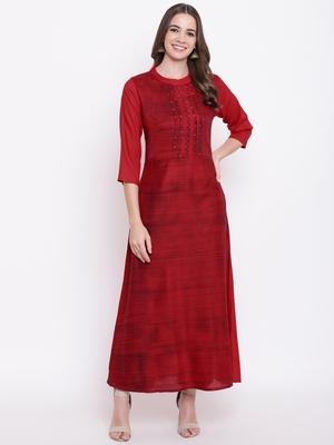 red embroidered viscose ethnic-kurtis