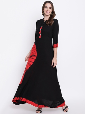 black embroidered viscose ethnic-kurtis