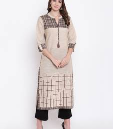 beige embroidered cotton ethnic-kurtis