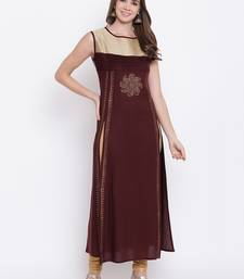 brown embroidered viscose ethnic-kurtis