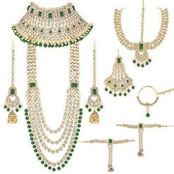 Designer Ethnic Indian Bollywood Style White Green 9 pc Full Bridal Jewelry set