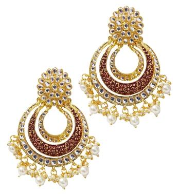 Designer Ethnic Indian Bollywood Rusty Red Meenakari Chandbali Earrings Set
