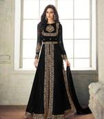 Buy Black embroidered faux georgette salwar