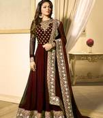 Buy Maroon embroidered faux georgette salwar