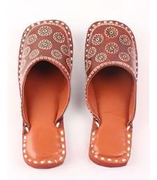 Brown leather Flat Mules With Round Toe