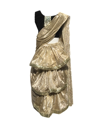 Beige self designed mixed blended with velvet blouse stitched Restitched saree