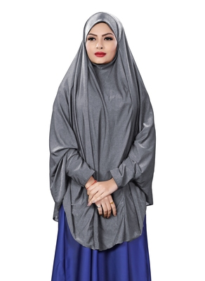 Justkartit Bluish Grey Stitched Jersey Cotton Islamic Chaderi Hijab With Veil And Sleeves