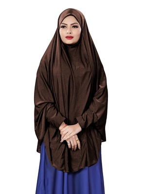 Justkartit Brown Color Stitched Jersey Cotton Islamic Chaderi Hijab With Veil And Sleeves