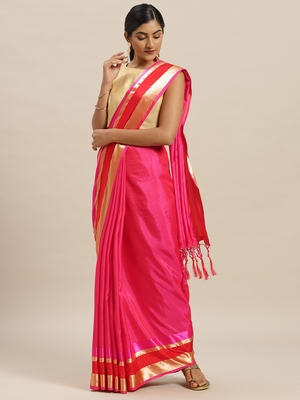 Pink printed silk cotton saree with blouse