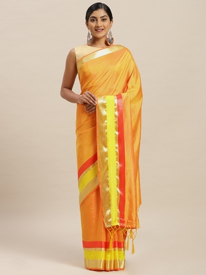 Yellow printed silk cotton saree with blouse