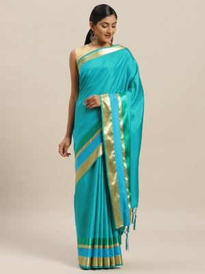 Turquoise printed silk cotton saree with blouse