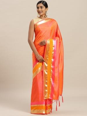 Peach printed silk cotton saree with blouse