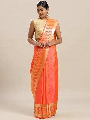 Orange printed silk cotton saree with blouse