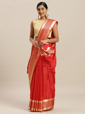 Red printed silk cotton saree with blouse