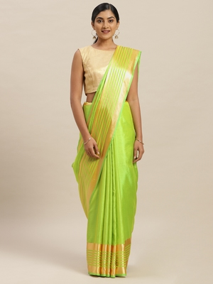 Green printed silk cotton saree with blouse