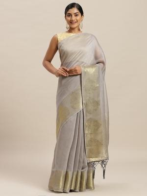 Grey printed silk cotton saree with blouse