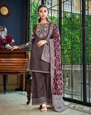 Dark-grey embroidered satin salwar
