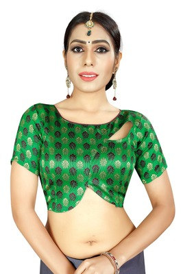 Green Jacquard Fancy Fabrics Unstiched Blouse Piece.