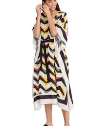 Justkartit Multi Color Muslin Printed Fabric Calf Length Kaftan (Zig Zag Pattern)