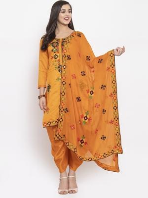 Orange Chanderi Silk Women's Unstitched Phulkari Dress Material