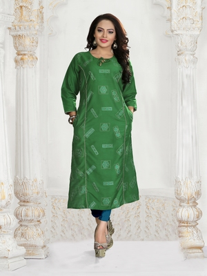 Green Embroidered Silk Silk Kurtis