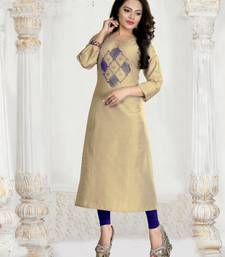 Beige Embroidered Silk Silk Kurtis