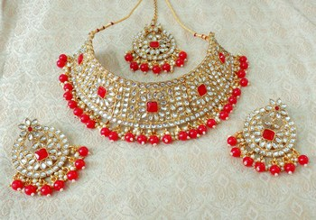 Lalso Gorgeous Red Bridal Kundan Choker Necklace Earring Maangtikka Jewelry Set - LKCN01_RD
