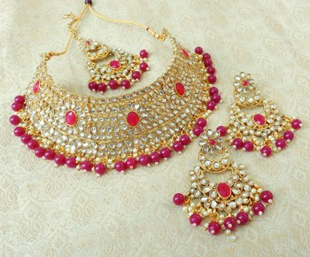 Lalso Gorgeous Ruby Bridal Kundan Choker Necklace Earring Maangtikka Jewelry Set - LKCN02_RB