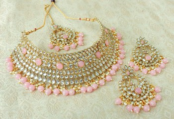 Lalso Gorgeous Baby Pink Bridal Kundan Choker Necklace Earring Maangtikka Jewelry Set - LKCN03_BP