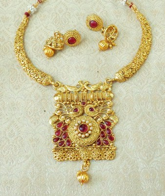 Lalso Kempu Gold Plated Delicate Kanti Haasli Necklace Earring Jewelry Set - LSDN13_KP