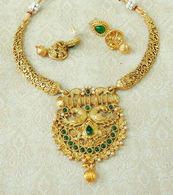 Lalso Green Gold Plated Delicate Kanti Haasli Necklace Earring Jewelry Set - LSDN14_GR