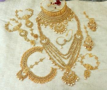 Lalso LCT Golden Stone Kundan Full Bridal Wedding Jewelry Set - LSDS08_LCT