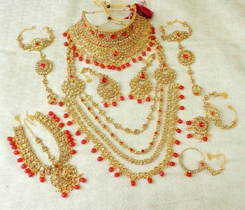 Lalso Red Stone Kundan Full Bridal Wedding Jewelry Set - LSDS10_RD