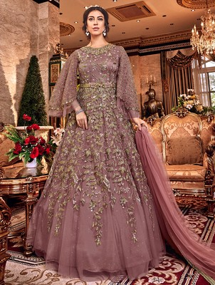 Light-purple embroidered net salwar