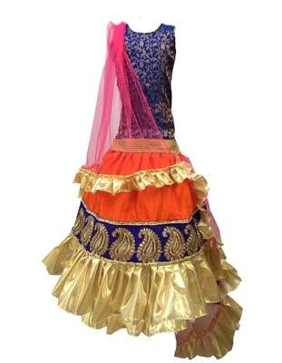 Blue  blouse ,printed Rani chaniya indowestern,designer Lehenha choli  without chunni