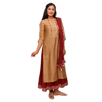 Women Khaki Embroidered Double Layered Chanderi Long Kurta