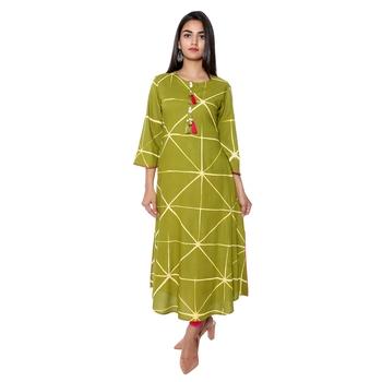 Women Green Tie-Dye Rayon Staple Long Kurta