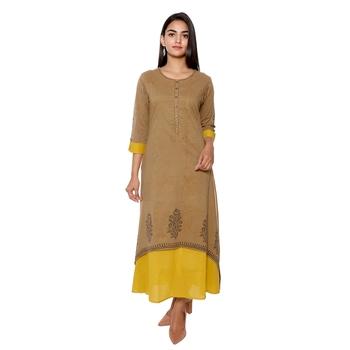 Women Mahendi Green Handblock Double Layer Cotton Kurta