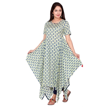 Women Green Printed Long Rayon Modal Kurta