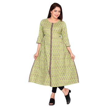 Women Pista Green Printed Double Layered Cotton Kurta