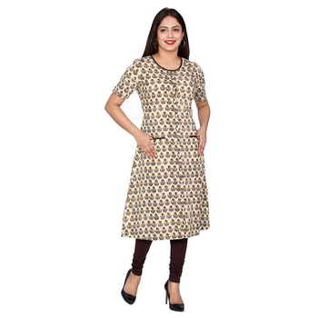 Women Mustard Bagru Print Cotton Kurta