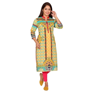Women Mustard Printed Cotton Kurta