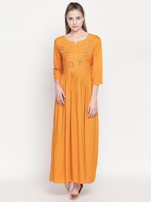 Mustard Gold Printed Designer Maxi Dress For Women