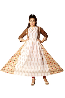 White & Mustard Printed Anarkali For Women